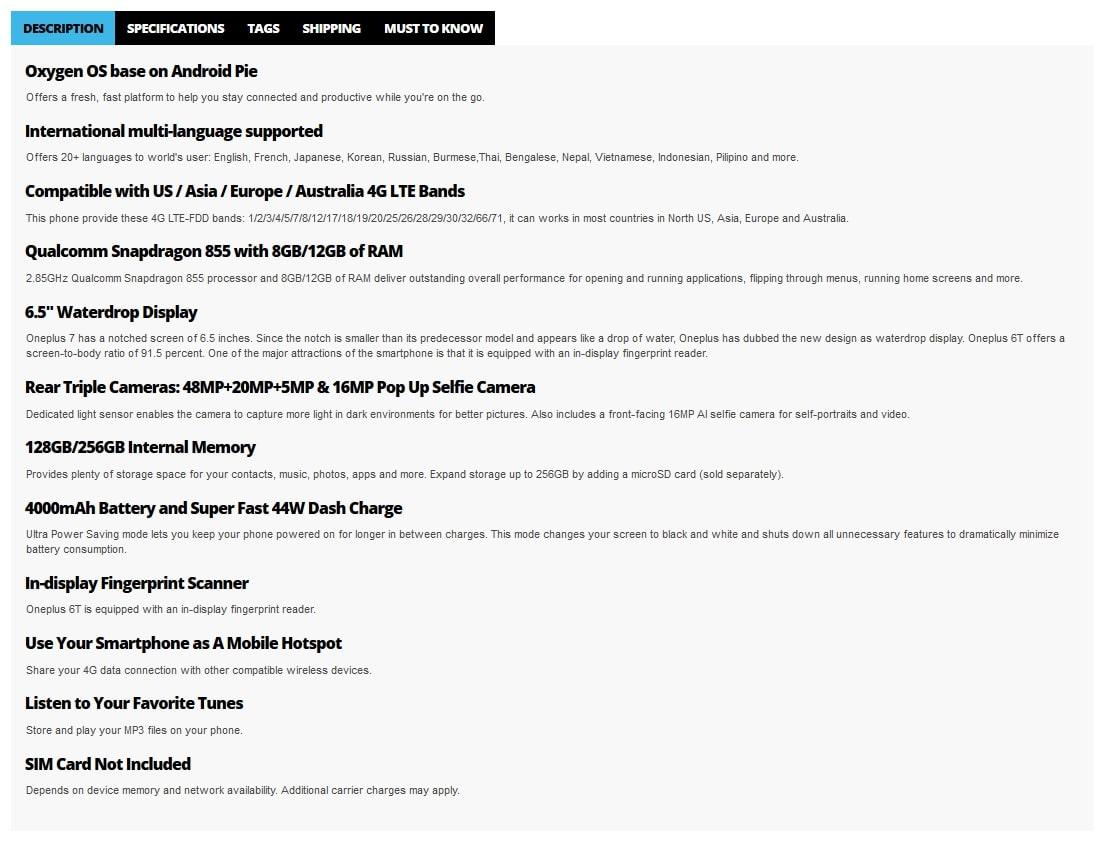especificações do OnePlus 7