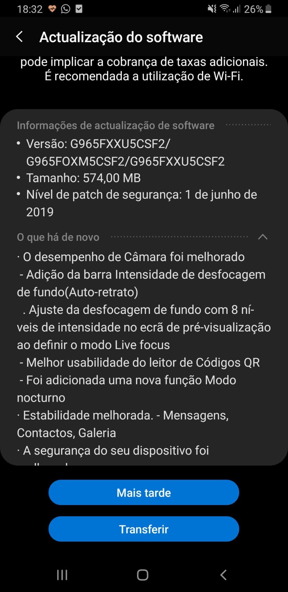 Update para o Galaxy S9+