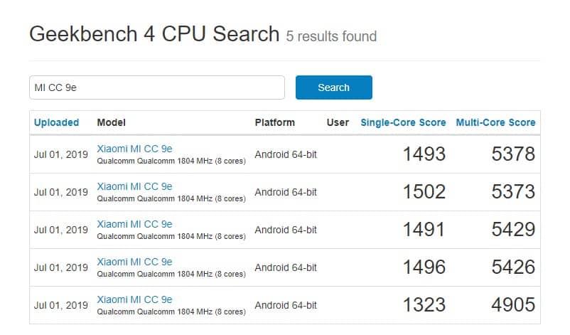 Xiaomi CC9e aparece