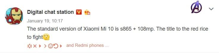 Xiaomi Mi 10 vai