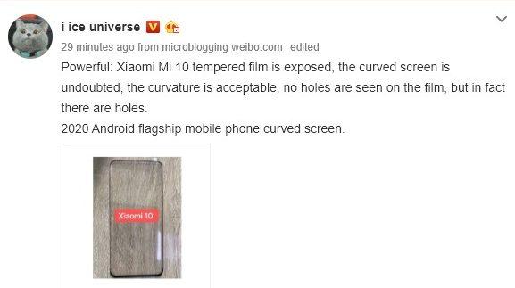 Película do Xiaomi Mi 10
