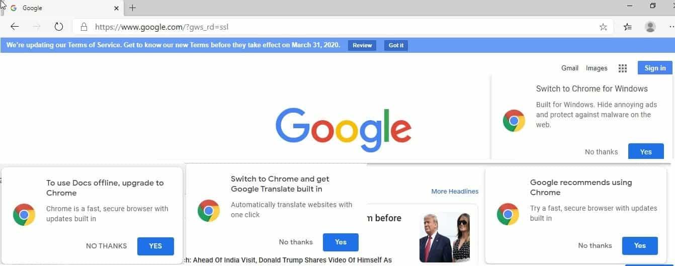 Google Chrome aponta