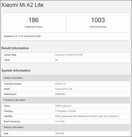 A2 Lite com Android 10