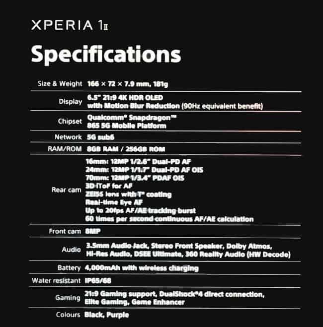especificações do Xperia 1 II