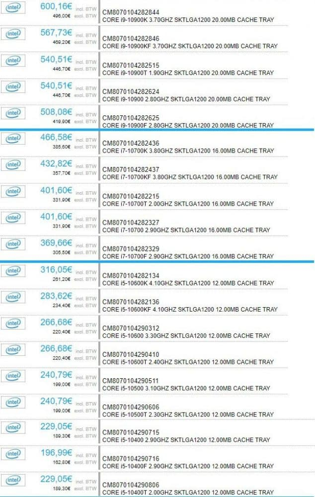 preços dos Intel Core 10000