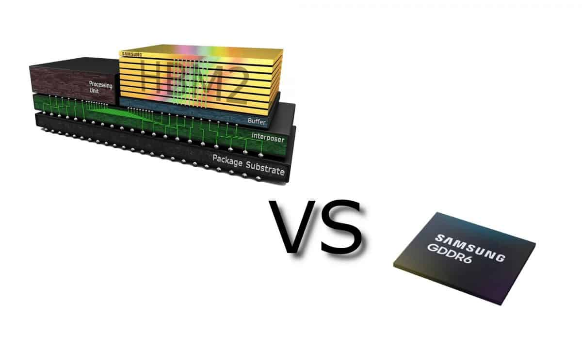 What is the difference between GDDR6 and HBM2 memory?