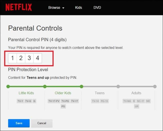 Netflix controlo parental