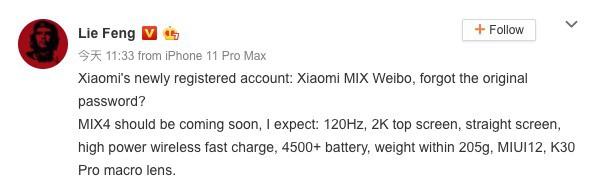 Mi MIX 4 especificações