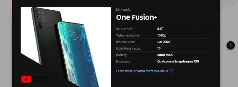 Motorola One Fusion Plu