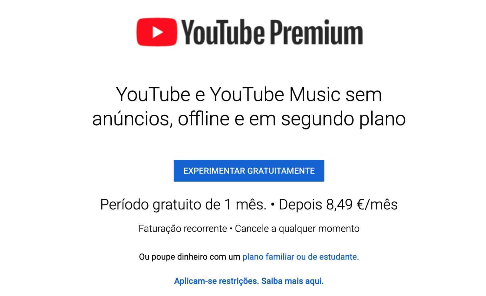 YouTube Premium aderir