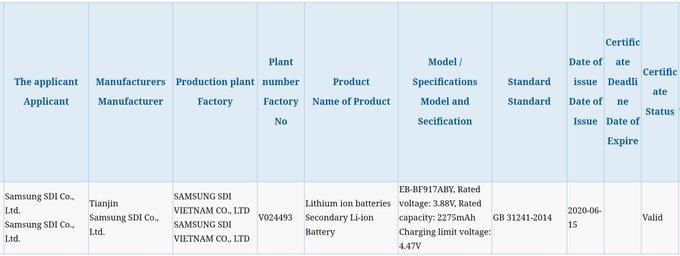 Galaxy Fold 2 Bateria