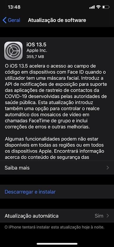 novo iOS 13.5
