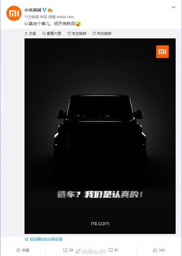 (Última Hora) Xiaomi vai apresentar um carro amanhã!?