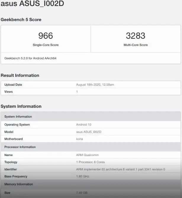 ASUS Zenfone 7 especificações
