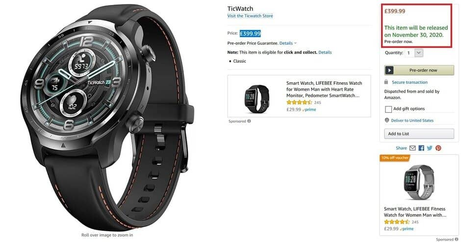 TicWatch Pro 3 Amazon