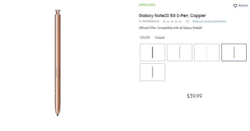 S Pen do Galaxy Note 20