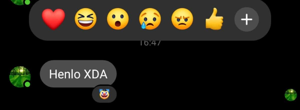 Messenger reações
