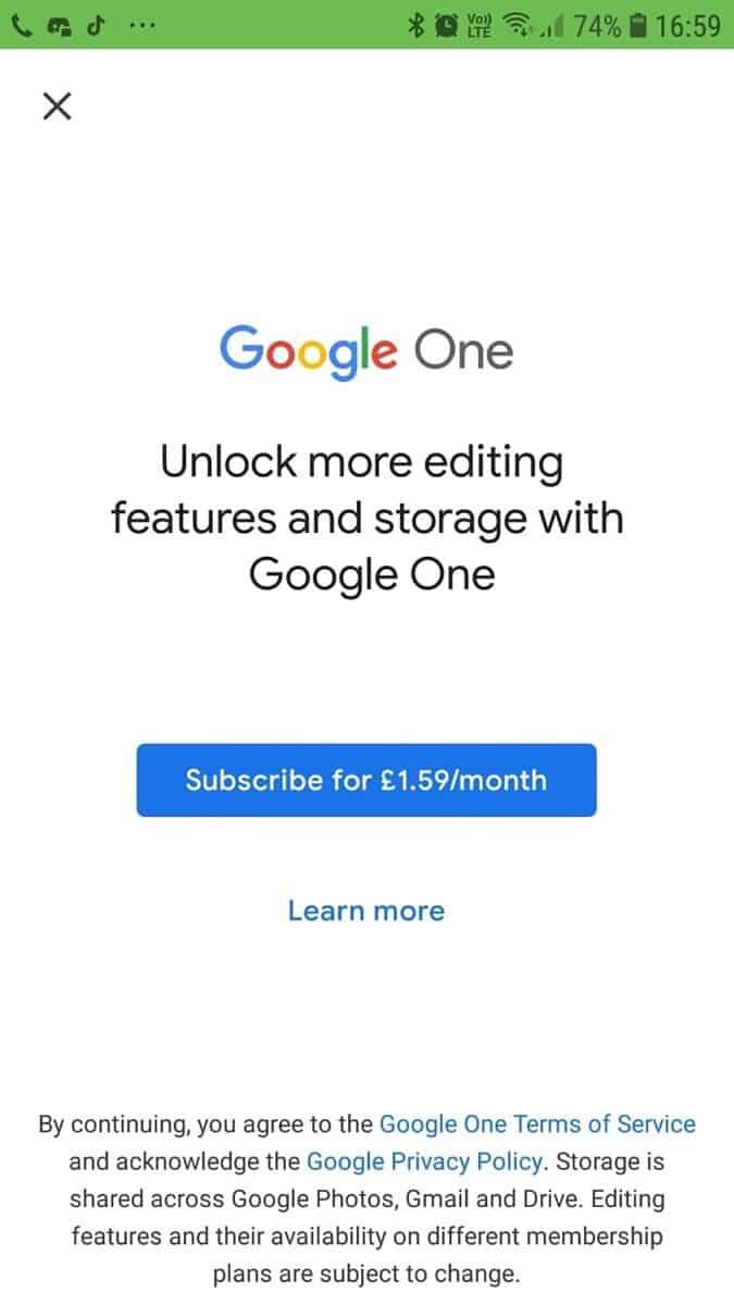 Google Fotos pagar