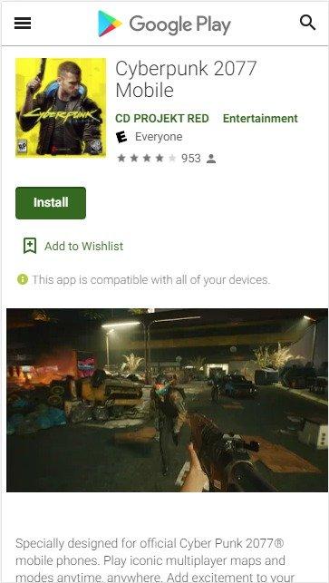 mobile Cyberpunk 2077