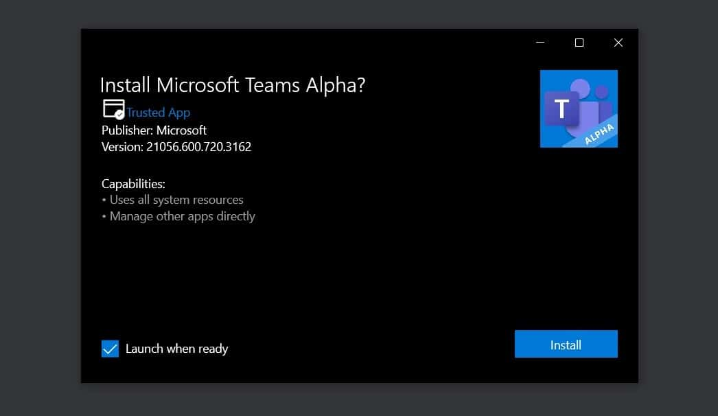 Microsoft Teams nova versão
