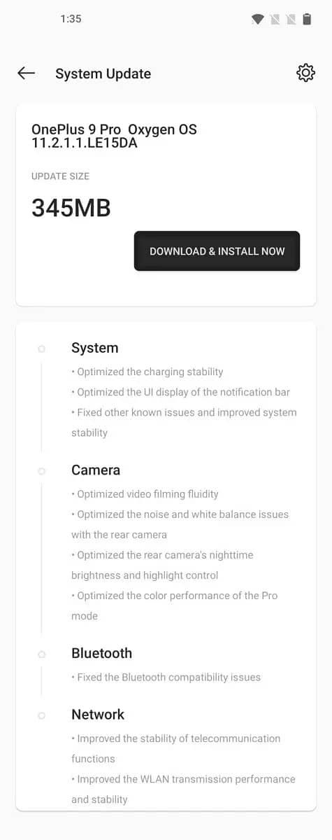 OnePlus 9 update